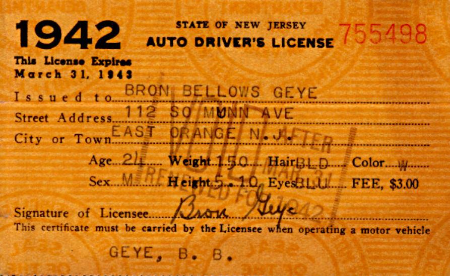 NJ Drivers License 1942