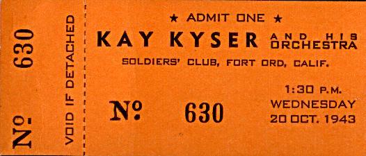 Kay Kyser complete 1943 ticket
