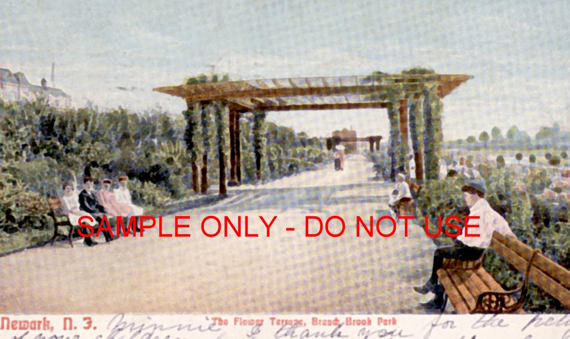 NJ Terrace park benches and people 1910